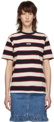 MSGM Black and Off-White Striped T-Shirt