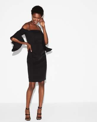 Express Fitted Drape Sleeve Midi Dress