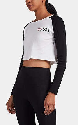 "Barneys New York x TRACY ANDERSON Women's Heart ""Full"" Cotton Crop Baseball T-Shirt - Wht.&blk."