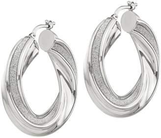 """Italian Silver 1-3/8"""" Glitter Twisted Hoop Earrings"""
