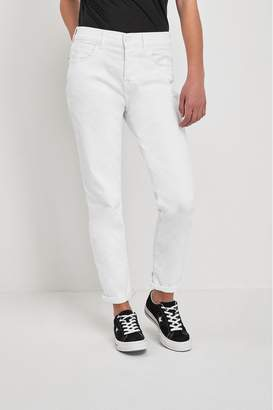 7 For All Mankind Womens White Slim Relaxed Jean - White
