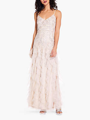 Adrianna Papell Beaded Long Dress, Shell