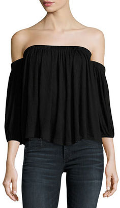 Ella Moss Gioannia Off-The-Shoulder Textured Top $158 thestylecure.com