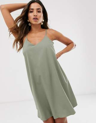 UNIQUE21 satin cross back slip dress