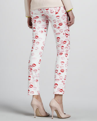 Erin Fetherston Lipstick-Print Skinny Pants