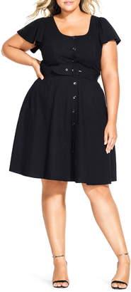 City Chic Flutter Sleeve Belted Cotton Blend Dress