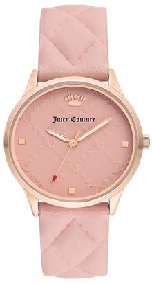 Juicy Couture Women's Pink Leather Watch, 36mm