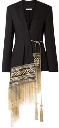 Oscar de la Renta Fringed Embroidered Wool-blend Twill Wrap Jacket - Black