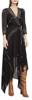 BCBGMAXAZRIA Woven City Wrap-Front Handkerchief Dress
