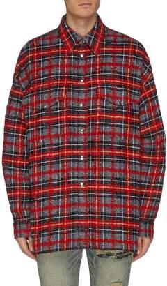 Faith Connexion Lace-up outseam check plaid tweed shirt jacket