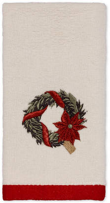 Avanti Farmhouse Holiday Embroidered Fingertip Towel Bedding