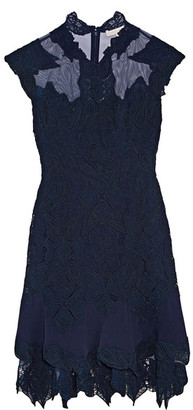 Jonathan Simkhai - Jersey And Tulle-trimmed Corded Lace Mini Dress - Indigo $895 thestylecure.com
