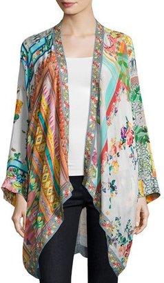 Johnny Was Scarf-Print Georgette Kimono Jacket, Plus Size $300 thestylecure.com