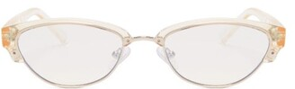 Le Specs Squadron Tinted Oval Sunglasses - Womens - Light Yellow