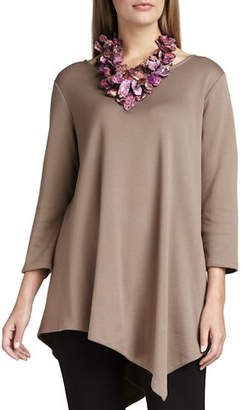 Joan Vass 3/4-Sleeve Asymmetric Tunic, Plus Size