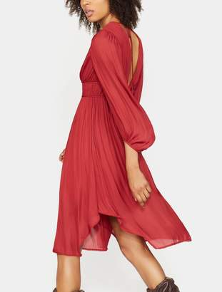 Halston Ruched Tie Back Dress