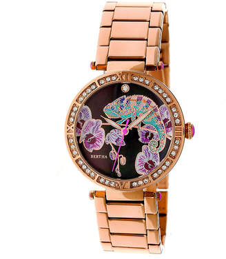 BERTHA Bertha Womens Rose Goldtone Strap Watch-Bthbr6203