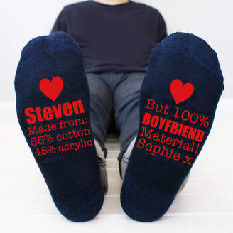 Sparks And Daughters Personalised Boyfriend Material Men's Socks