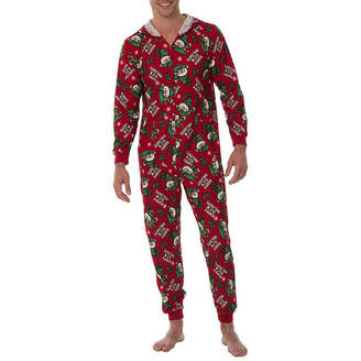 ONESIES Fleece Onesies One Piece Pajama Red Elf Print-Mens