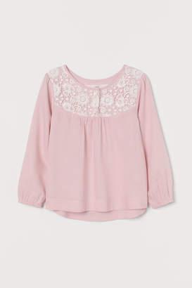 H&M Blouse with Lace Yoke - Pink