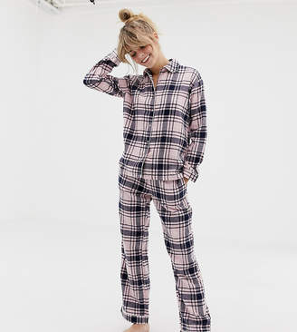 Monki xmas check pyjama set in pink