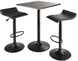 Winsome Wood Obsidian 3pc Table Set, Square Table Counter Height with 2 Airlift Stools all Black