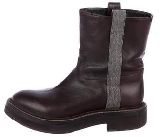 Brunello Cucinelli Monili-Accented Leather Boots