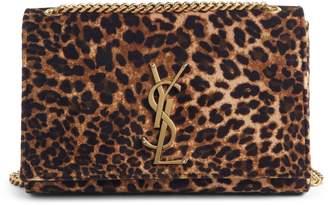 Saint Laurent Small Kate Leopard Print Velour Chain Crossbody Bag