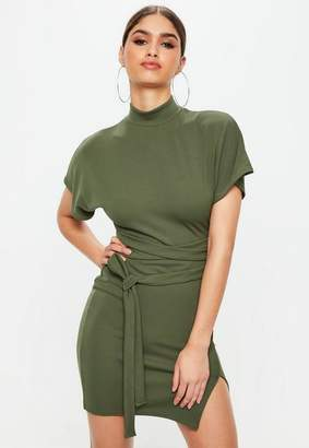 Missguided High Neck Wrap Waist Shift Dress
