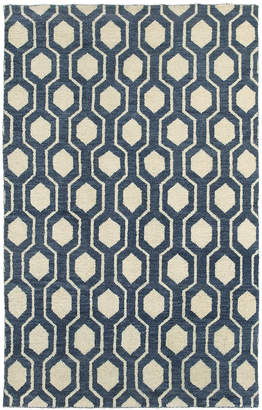 """Tommy Bahama Home Maddox 56507 Navy/Ivory 2'6"""" x 10' Runner Area Rug"""