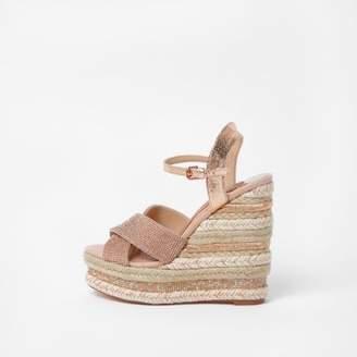 River Island Womens Pink metallic wide fit rhinestone wedge sandals