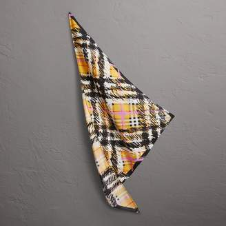 Burberry Scribble Check Silk Scarf