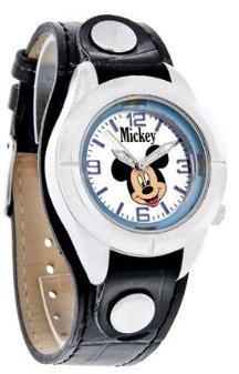 Disney (ディズニー) - ディズニーミッキーマウスジュニアブルーダイヤルブラックレザーバンド腕時計mck534