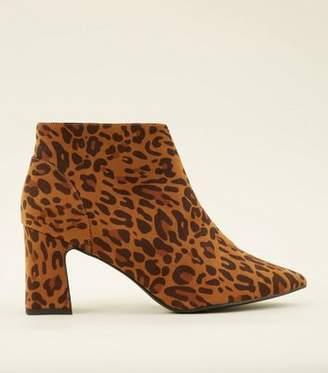 New Look Wide Fit Brown Leopard Print Suedette Block Heel Boots