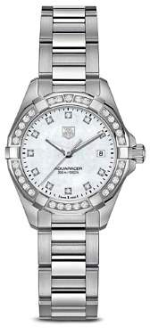 Tag Heuer Aquaracer 300M Quartz Stainless Steel Watch with Diamonds, 27mm