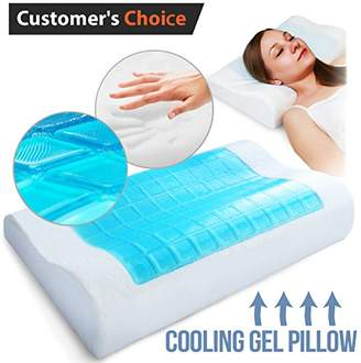 Gel Memory Foam Pillow - Comfortable Cooling Pillow Neck Pain - Cervical Support Pillow Back Stomach Side Sleepers - Bed Orthopedic Sleeping Pillow for Women Kids + Hypoallergenic Cover