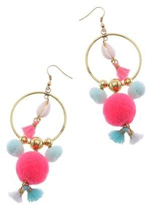 Nakamol Design Pom Hoop Earrings