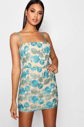 boohoo Embroidered Square Neck Bodycon Dress