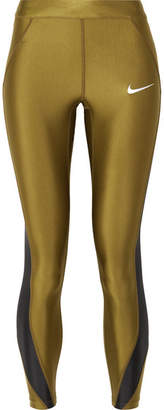 49655e0138d04 Nike Speed Cropped Paneled Metallic Dri-fit Stretch Leggings - Army green