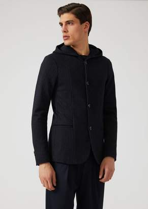 Emporio Armani Patterned Knit Fabric Jacket With Hood