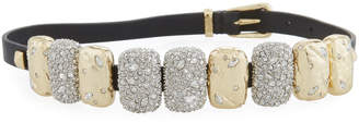 Alexis Bittar Rocky Crystal Leather Choker Wrap Bracelet
