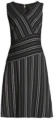 Donna Karan Women's Striped V-Neck Dress