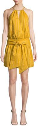 Parker Larissa Striped Halter Mini Dress with Tie-Front Detail