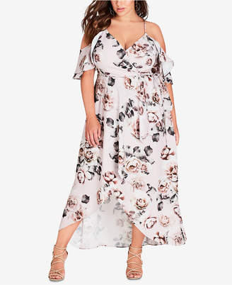 City Chic Trendy Plus Size Cold-Shoulder High-Low Dress