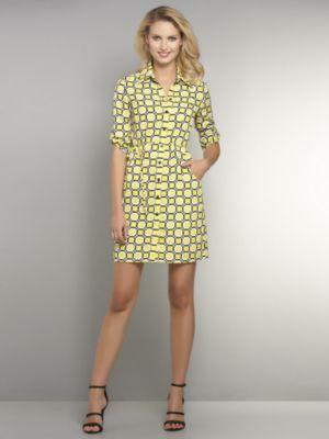 New York & Co. Silky Check-Print Shirtdress
