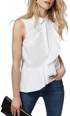 Topshop Sleeveless Ruffle Shirt $68 thestylecure.com