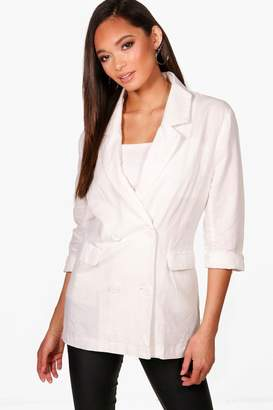 boohoo Daisy Double Breasted Linen Blazer