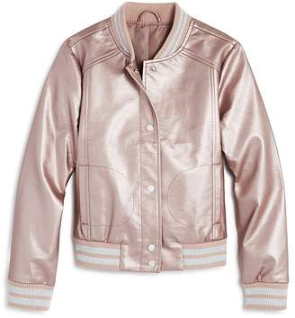 Aqua Girls' Metallic Faux-Leather Bomber Jacket, Big Kid - 100% Exclusive