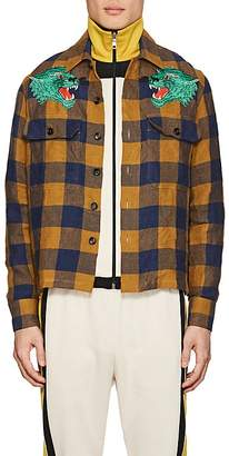 Gucci Men's Tiger-Patch Gingham Linen Shirt