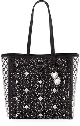 Iconic American Designer Avery Pebbled Leather Embellished Tote Bag